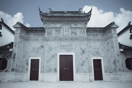 gatehouse: chinese traditional architecture of the entrance gate  or gatehouse  Stock Photo