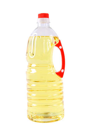 cooking oil: yellow cooking oil in plastic bottle