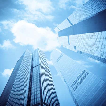 blue facades sky: modern skyscrapers on the sunny blue sky