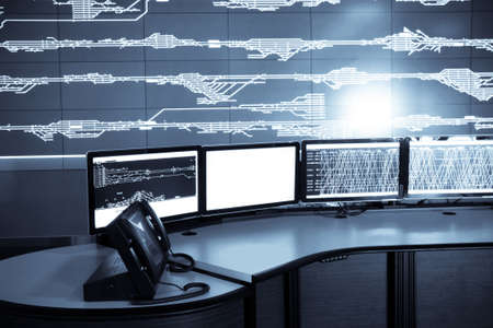 developed: developed electronic technology inside the railway control room  Stock Photo