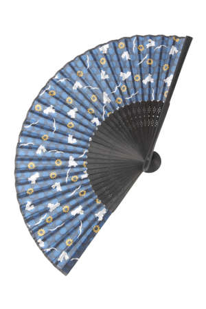 a asian blue silk fan isolated on white photo