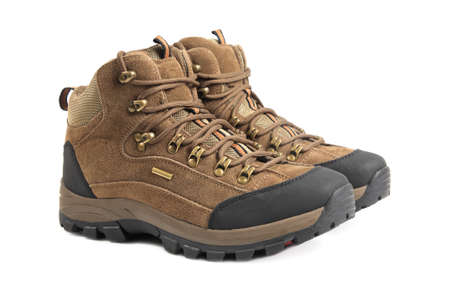 boot shoes: hiking boots isolated on white background Stock Photo