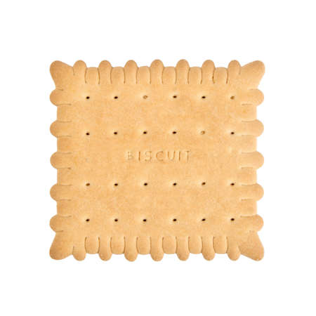 tea and biscuits: single piece biscuit isolated on white  Stock Photo