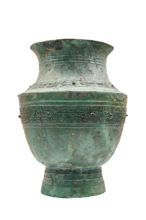 bronze drinking vessel(zun),it is decorated with string designs in relief,motifs of one-legged monsters,string pearls and beast-mask motifs. photo