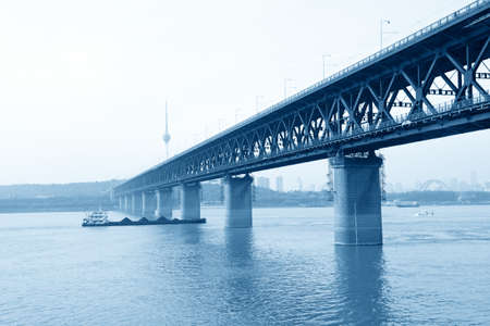 wuhan: wuhan yangtze river bridge at hubei province, China,it is the first yangtze river bridge Stock Photo