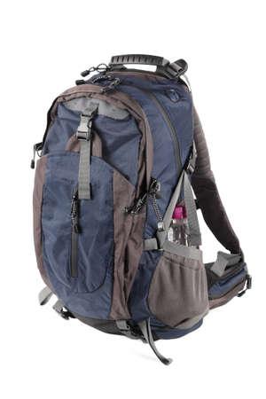 blue backpack isolated on white photo