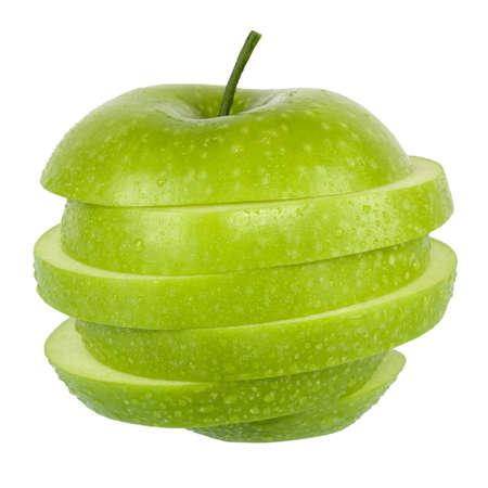 白で隔離される緑のリンゴ 写真素材