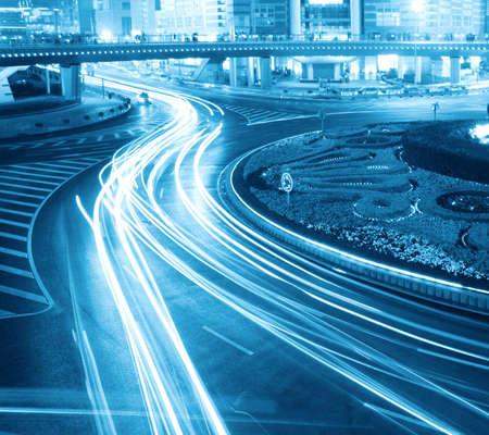 prosperous: night traffic in prosperous shanghai, China.
