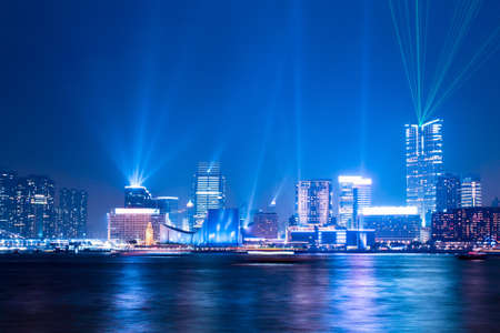 laser show:  night scenes of interactive lights show in Hong Kong