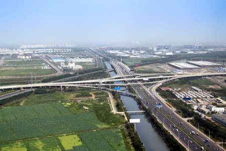 rural development: aerial view of road junction