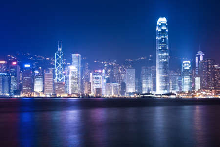 night scenes of Hong Kong at victoria harbour photo