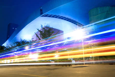 light trails on the abstract building background Stock Photo - 9762046