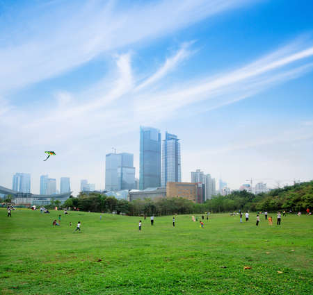 flying kites in the park with the modern city background