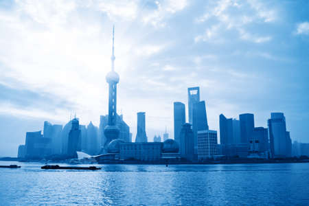 shanghai skyline at morning,China photo