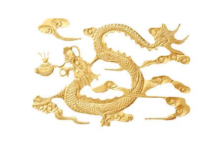 golden dragon isolated on white photo