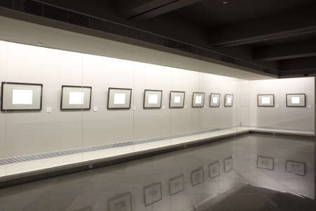 showcase: empty frames in the showcase at exhibition room
