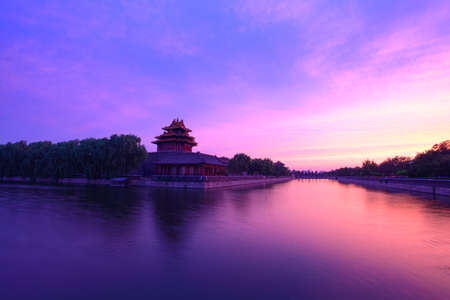 turret: the turret of the imperial palace at sunset in beijing,China Stock Photo