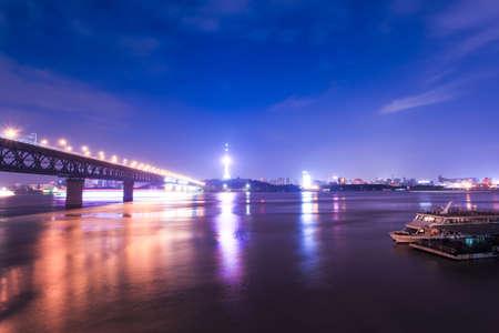wuhan: night scene in wuhan city,China