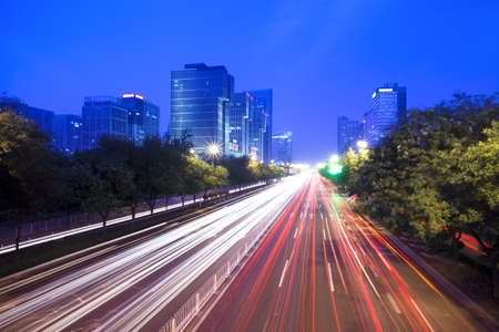 night traffic in modern city,beijing photo