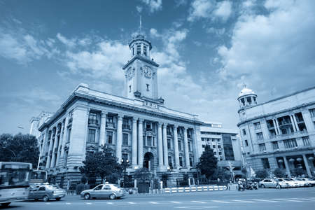 pilasters: old wuhan customs building with blue tone,China