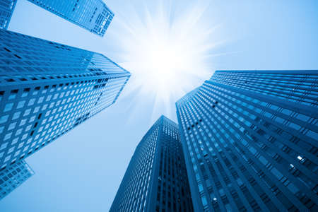 abstract blue building skyscraper under sky photo