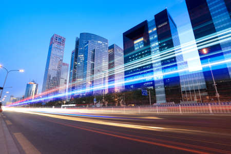 modern city at dusk with street traffic in beijing,China  Stock Photo