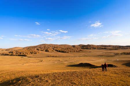 vast: autumn prairie,pasture and birch woods under blue sky