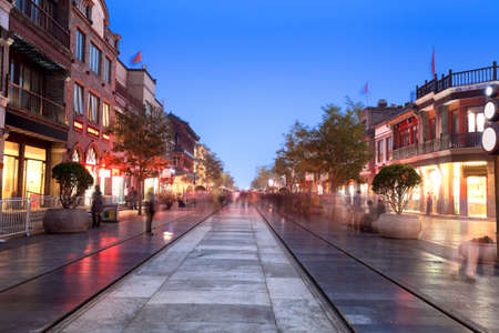 beijing qianmen street at evening,chinese traditional commercial street