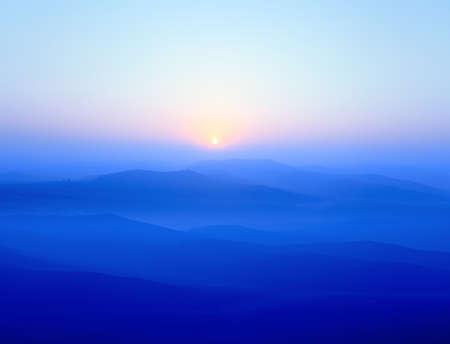 ridges: Blue Ridge Mountains al sorgere del sole Archivio Fotografico