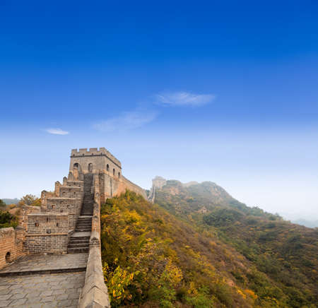 the great wall of china against a blue sky,If one man guards the pass, ten thousand are unable to get through.  photo