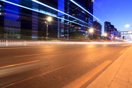 the light trails on the modern building background in beijing,China Stock Photo - 11110981