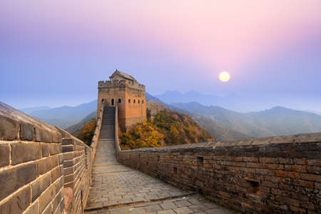 muralla china: la Gran Muralla de China al amanecer