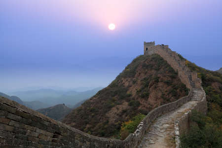 great wall: the great wall of china at morning in autumn
