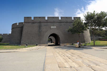 chinese wall: ancient city gate tower in beijing,China