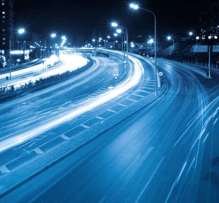 interchange: night traffic,light trails on the street in beijing,China