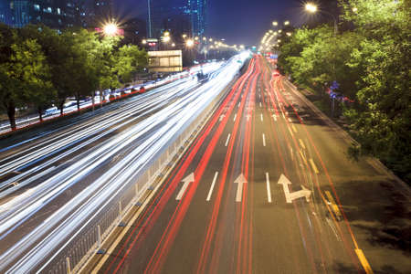 light trails on the street in rush hour traffic,beijing photo