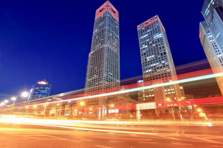 modern cityscape with traffic at dusk in beijing,China Stock Photo