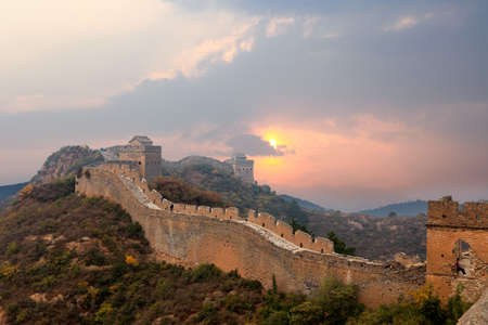 eventide: the great wall of china in sunset
