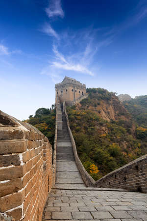 the great wall of china with blue sky photo