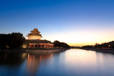 the turret of beijing forbidden city at dusk  Stock Photo