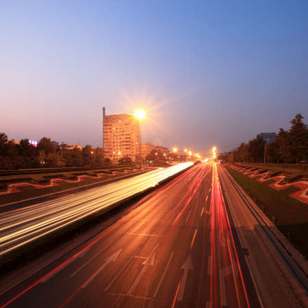 traffic at dusk in rush hour on beijing highway photo