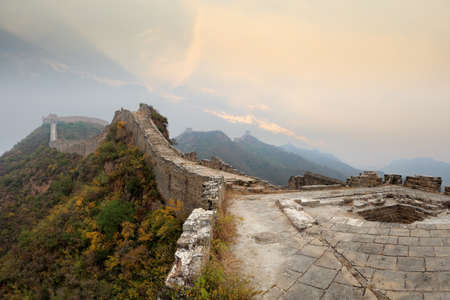 the great wall of china in autumn morning photo