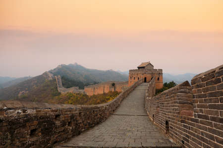 the great wall of china in autumn dusk Stock Photo