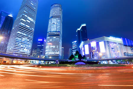 night scene of shanghai lujiazui downtown photo