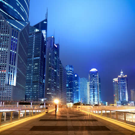 flyover: night scene of the modern building background on the flyover in shanghai Stock Photo