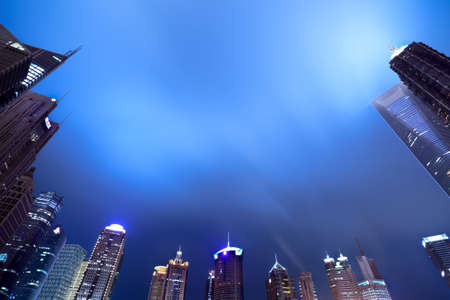 shanghai skyline of the lujiazui financial center at night photo