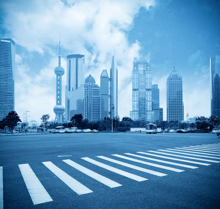 crossing street: the scene of the century avenue in shanghai,China.