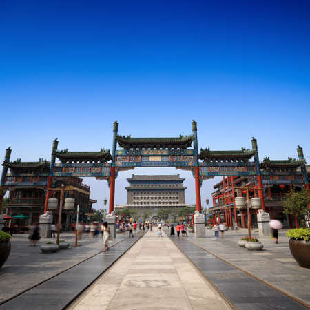 beijing: the qianmen street in beijing,China. It stands at the south end of the Tiananmen Square, and was formerly the front gate of the Inner City,old commercial street, a part of the ancient city of Beijing
