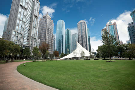 commercial district: greenbelt park in shanghai financial center district