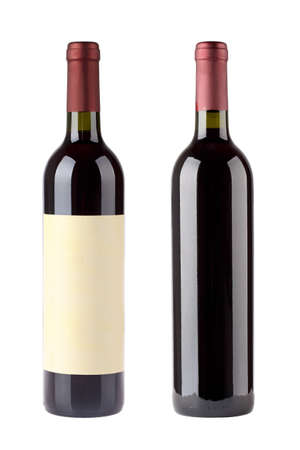 two red wine bottles with blank label isolated on white photo